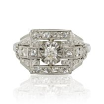 French 1930s Platinum White Gold and Diamond Art Deco Ring