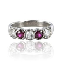 Modern Diamond and Ruby Garter Ring