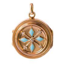 Médaillon ancien turquoises et diamants taillés en rose