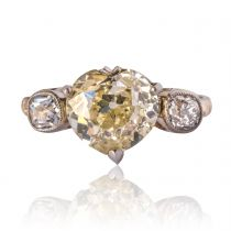 Antique 3.58 Carat Fancy Yellow Heart Cut Diamond Gold Ring