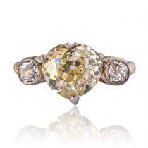 Antique 3.58 Carat Fancy Yellow Heart Cut Diamond Gold Ring