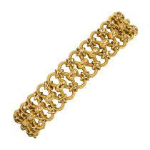 Bracelet ancien gourmette or jaune satiné