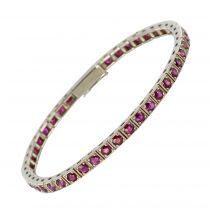 Bracelet rubis ligne or blanc