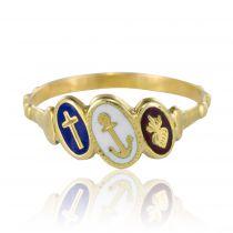 19th Century Antique Blue White Red Enameled Dizain Faith Ring