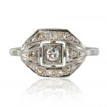 French 1930s White Gold Platinum Diamond Art Deco Ring