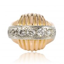 1950s Vintage Gadroons Diamond 18 Karat Yellow Gold Ring