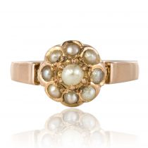 Bague marguerite perles fines