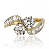 Bague Diamants toi et moi, or jaune et platine
