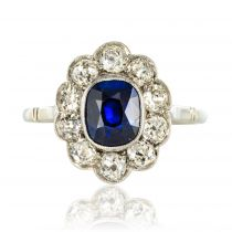 Bague saphir diamants platine marguerite