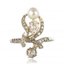 Bague ancienne diamants perle fine