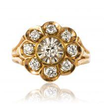 Bague fleur or rose, platine et diamants