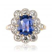 Bague saphir diamants pompadour