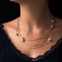 Sautoir diamants et perles de culture rosées