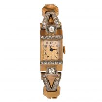 1940s Gold and Diamond Omega Watch