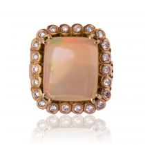 1960s 7.32 carat Opal Diamond 18 Carat Rose Gold Retro Ring