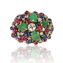1960s French Ruby Sapphire Engraved Emerald Diamond Gold Ring