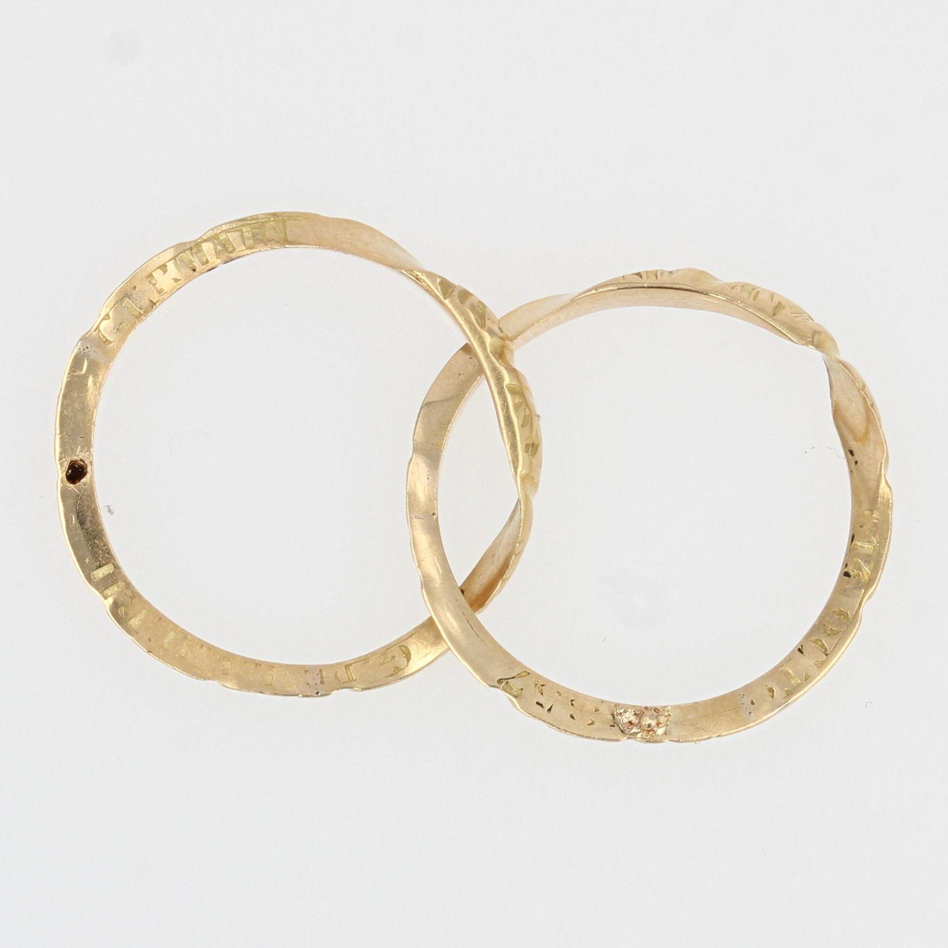 Alliance ancienne en or double anneau