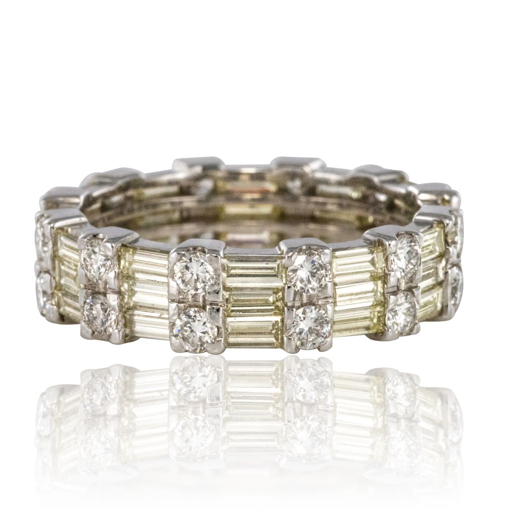 Details Sur Bague Alliance Diamants Baguettes Et Diamants Brillants Or Blanc Moderne