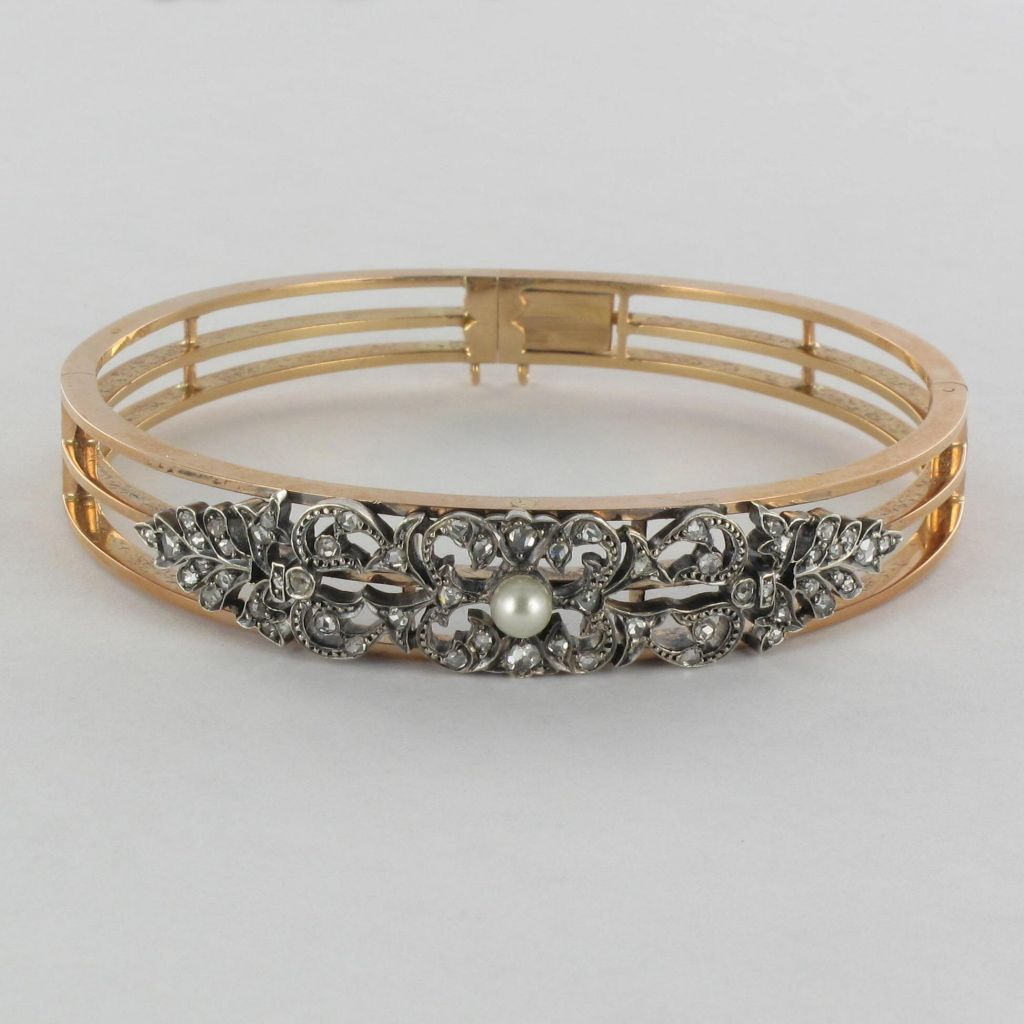 Antique bracelet - Diamond And Pearl Bracelet - Antique bangle bracelet