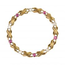 Antique Fine Pearl Ruby Gold Row Bracelet