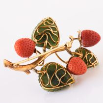 Antique French Coral Jade Diamond Gold Strawberry Branch Brooch