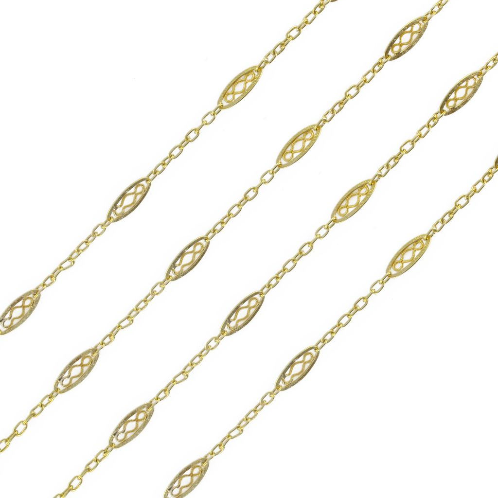 Antique long necklace - Antique Gold 18K long chain - Antique French jewelry