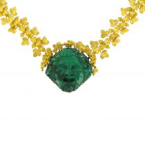Antique Malachite Cameo Gold 18 K Necklace - Antique Gold jewelry
