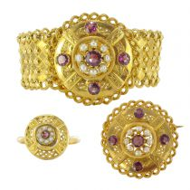 Antique parure - Antique Garnets and Real Pearls Parure - Antique French Jewelry