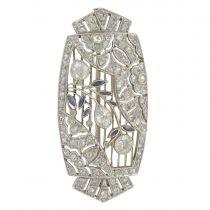 Art Deco Diamonds And Sapphires Brooch