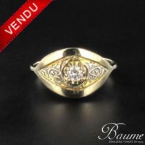 Bague 1930 diamants ors jaune et blanc