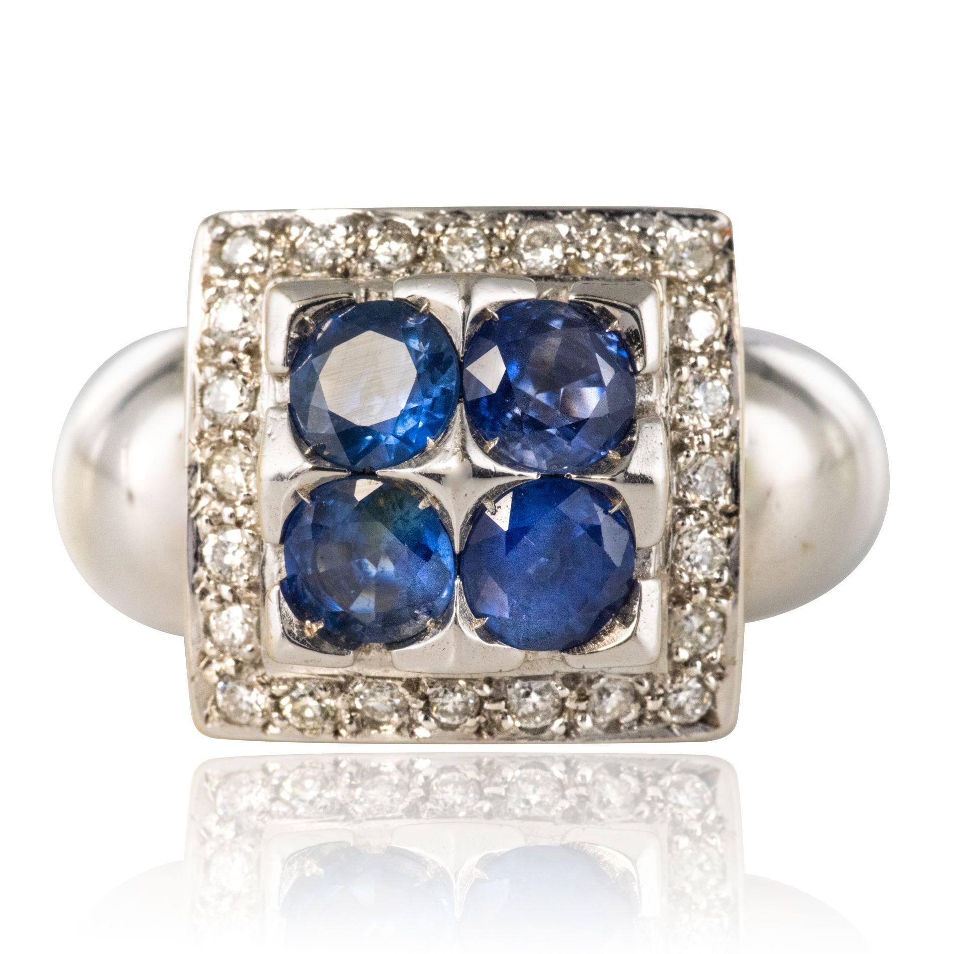 Bague 4 saphirs et diamants