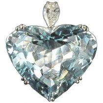 Bague aigue marine coeur et diamant poire