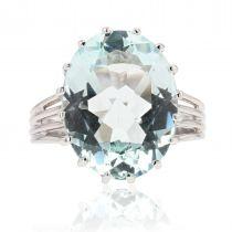 Bague aigue-marine diamants années 60