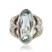 Bague aigue-marine diamants or blanc