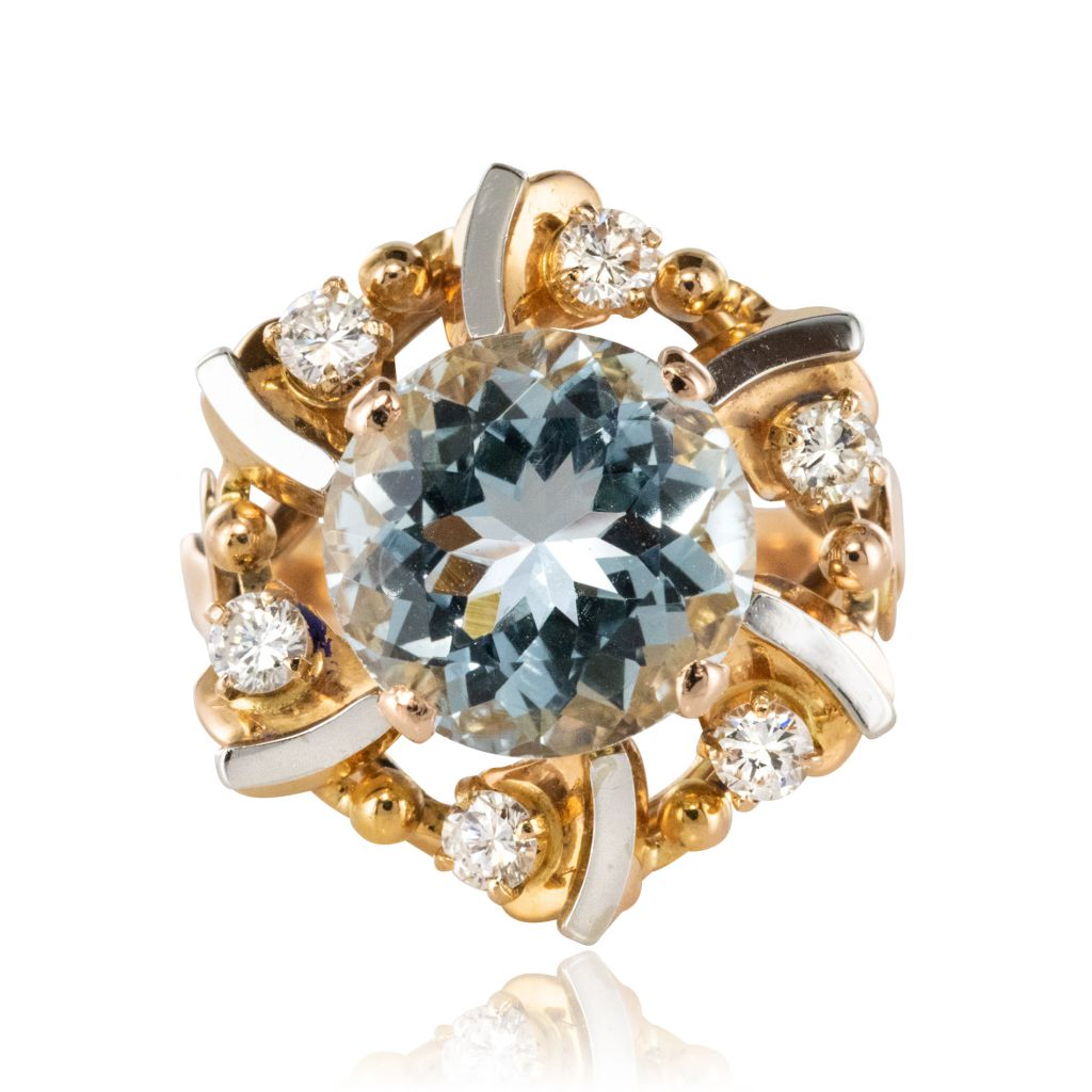 fréquent haut de gamme véritable pas cher Bague aigue-marine diamants vintage