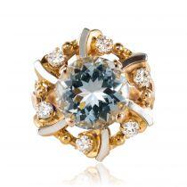 Bague aigue-marine diamants vintage