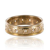 Bague alliance ancienne diamants taillés en rose