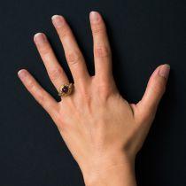 Bague améthyste et diamants ancienne