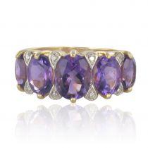 Bague améthystes et diamants jarretière