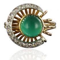 Bague ancienne agate verte et diamants