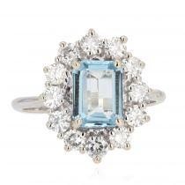 Bague ancienne aigue-marine diamants marguerite