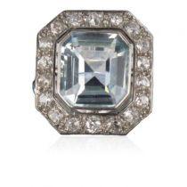 Bague ancienne Aigue-marine et Diamants