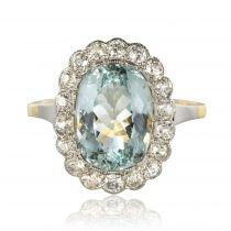 Bague ancienne aigue-marine et diamants pompadour