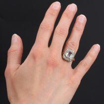Bague ancienne aiguemarine diamants
