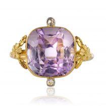 Bague ancienne améthyste et diamants taillés en rose