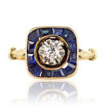 Bague ancienne art déco diamant saphirs