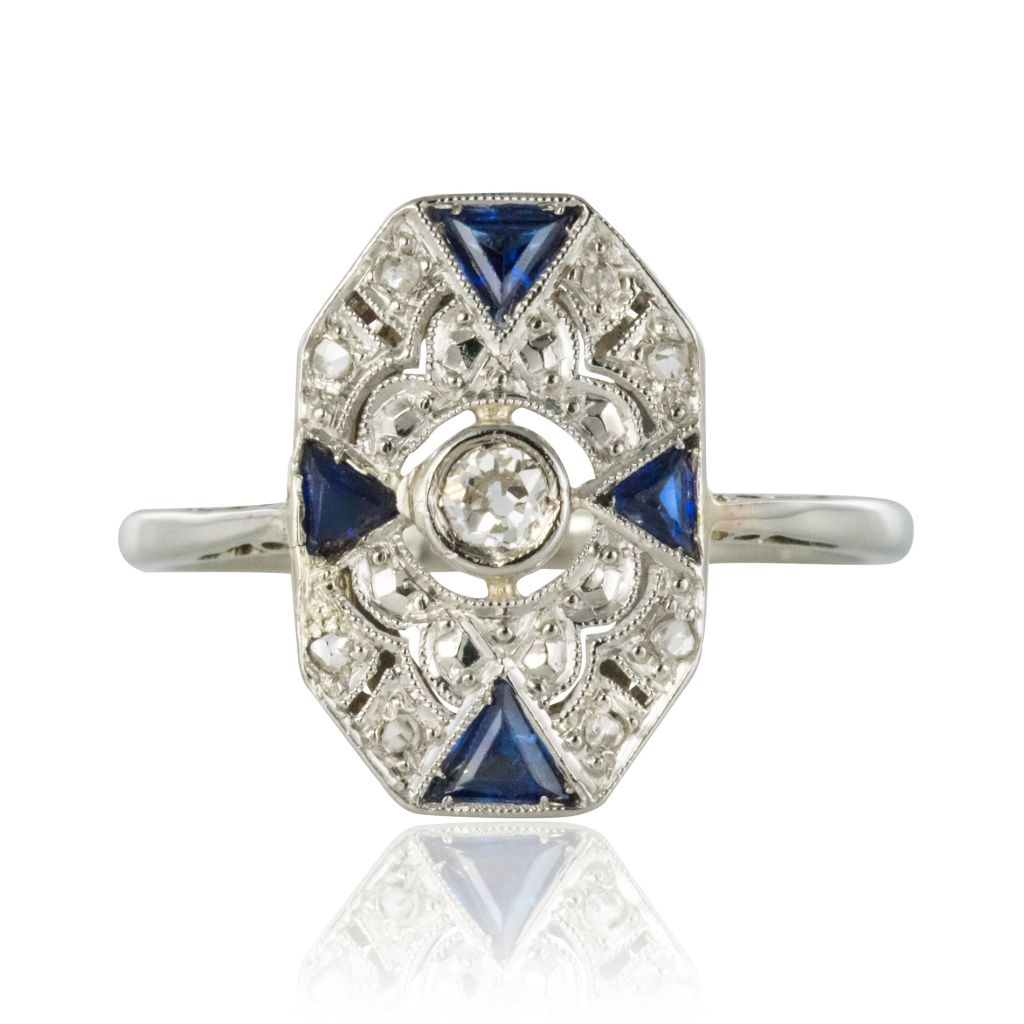 Bague ancienne art déco diamants saphirs