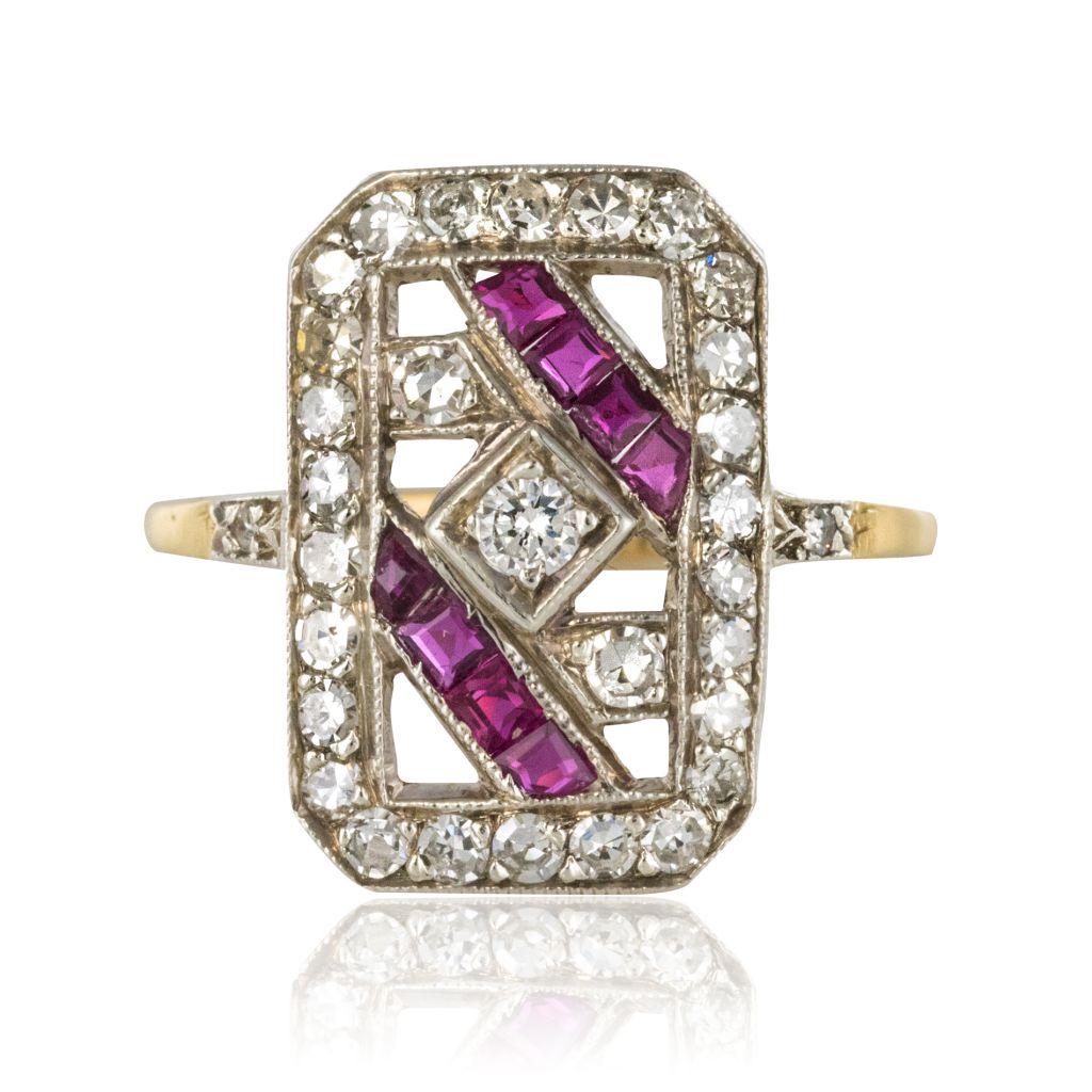 Bague ancienne art déco rubis et diamants