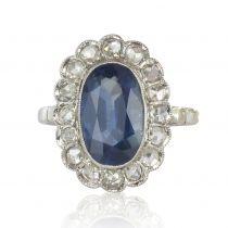 Bague ancienne art déco saphir et diamants pompadour