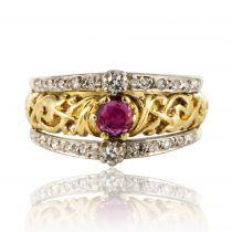 Bague ancienne bandeau rubis diamants